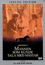 Mannen somkunde tala med hästar