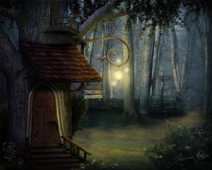 Magiskt hus i skogen med lampa