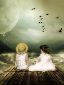 Två barn brygga hav fåglar