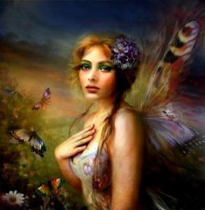 Fjärils ängel på kvinna