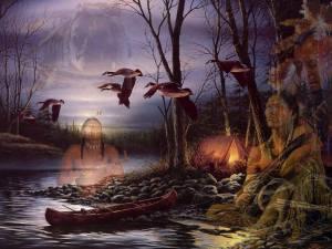 Indianer spiit kanot sjö