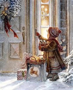 Jul flicka snö kassar