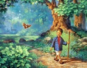 Pojke fågel promenad