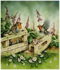Fåglar trä