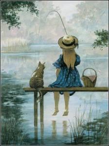 Flicka fiskar brygga