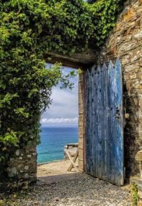 Dörr blå grönt