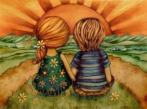 Barn solnedgång