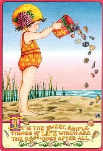 Flicka hink strand