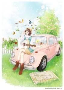 Kvinna hippie bil