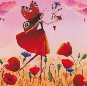 Flicka fjärill blommor