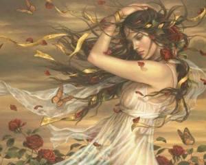 Kvinna blad vind