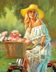 Kvinna cyklar blommor