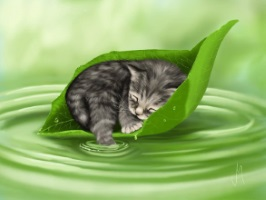 Kattunge i blad liten