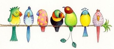 Fåglar på pinne - kopia
