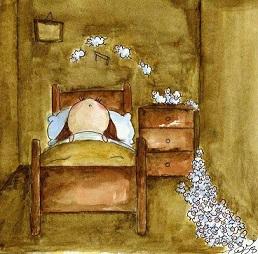 Godnatt säng lamm