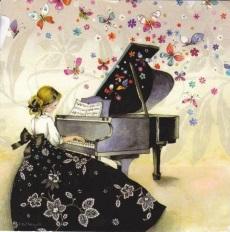 Kvinna piano liten